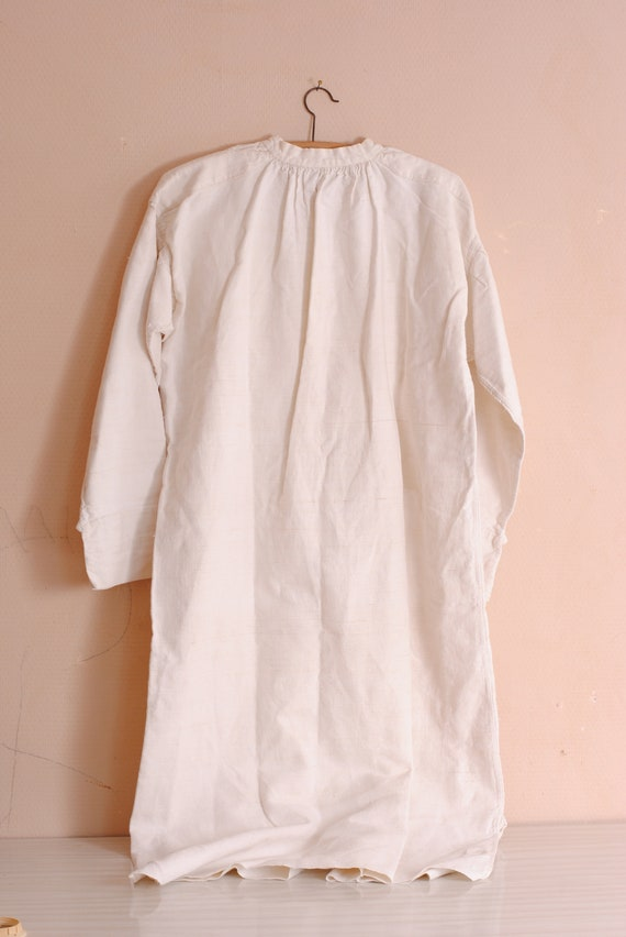 French antique nightgown 19th Amazing Victorian Handmade maternity dress Nightshirt with embroidery MJ or MD pure thread French linen