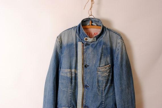indigo work jacket,faded jacket - image 2
