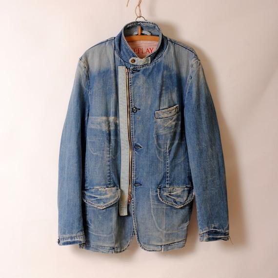 indigo work jacket,faded jacket