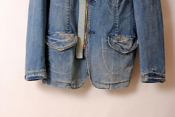 indigo work jacket,faded jacket - image 3