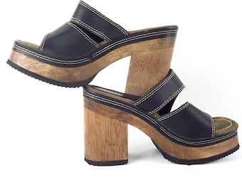 423bb381725 size 8 Candies Wood Sandals Platform 80s 90s Chunky Grunge Shoes Black  Leather Wood Heel Heeled Open Clogs