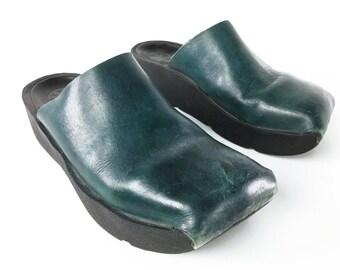 1fbd7e9f3 7.5 Blue Green Leather Square Toe Clogs Open Back Mules Backless Flatform  Platform Walking Shoes Vintage Wolky Women s EU 38 size US 7 1 2
