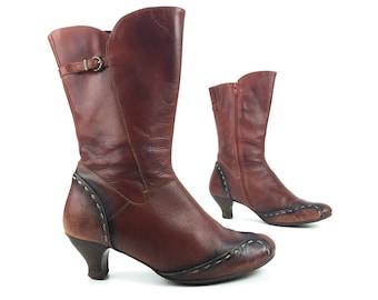 0bebe377d31 8.5 Vintage Steampunk Boots Vintage Women s Rust Red Black Side Zip Rustic  Rare Shoes