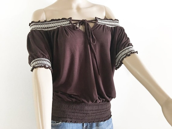 Drawstring Tie Blouse Loose Fit Gathered Elastic W