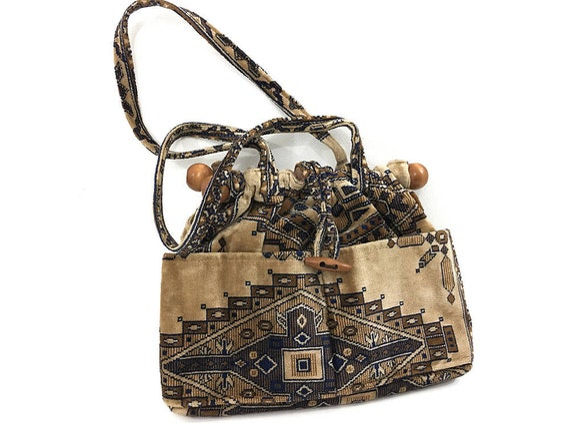 9cd0f52cafc Southwestern Upholstery Bag Boho Purse 70s Vintage Tan   Etsy