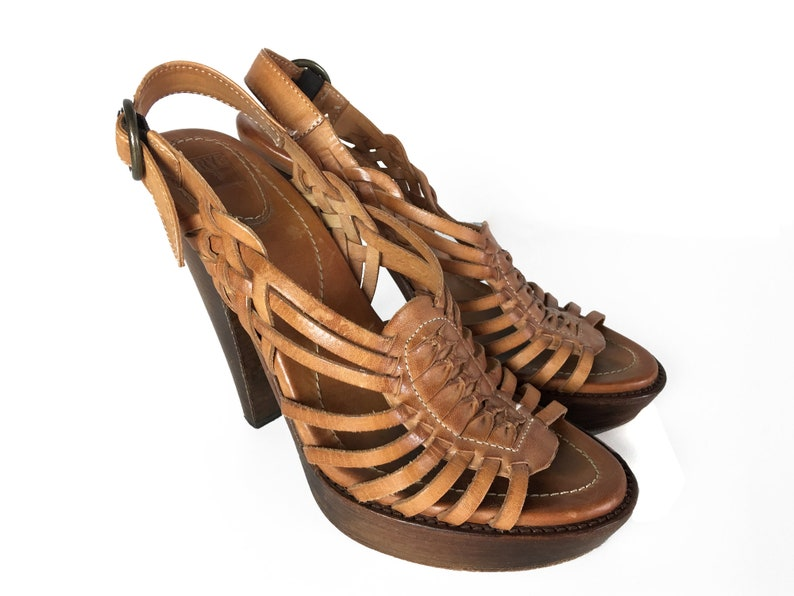 11818325e7106 Wood High Heel Tan Leather Sandals Boho Slingback Vintage Strappy Cut Out  Bohemian Sexy Summer Shoes Size 8.5