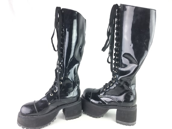 Muro Shoes Goth Boots Black Lace Up Chunky Platfor