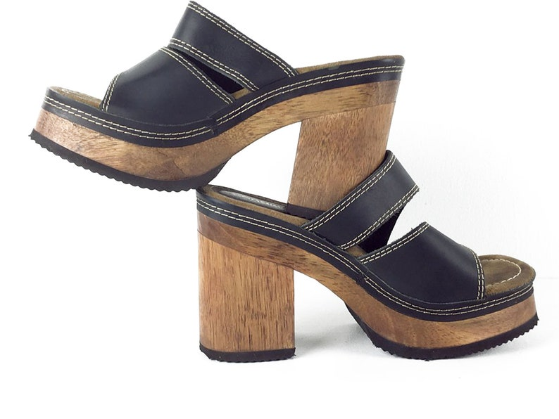Chunky Candies Wood Sandals Size 8 Platform 80s 90s Grunge Shoes Black Leather Wood Heel Heeled Open Clogs