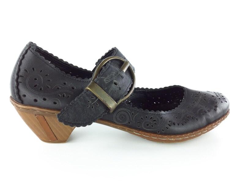 Niedriger Verkaufspreis zum halben Preis erstklassige Qualität 8.5 Vintage 90s Rieker Shoes Women's Floral Cutout Leather Mary Janes   Low  Heel Boho Hippie Brogue Shoes