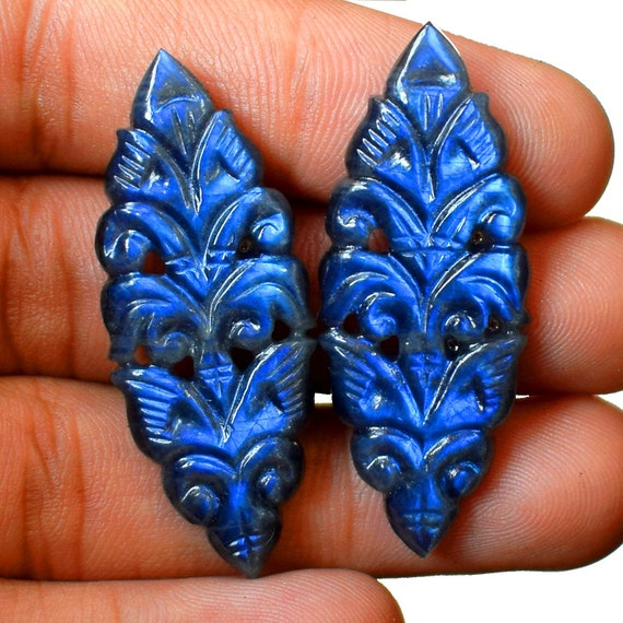 AAA naturelle Labradorite fabriqué à à à la main paire 43 x 17 x 4 mm de sculpture pierres précieuses en vrac 43 Cts 819b0a