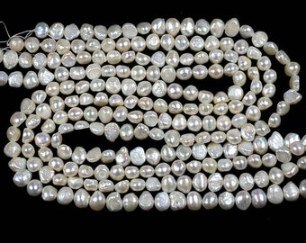 "white genuine loose pearl bead supply, 8 to 9mm AA real cultured sweet water pearl strand wholesale, freshwater pearl jewelry Length~16""Inch"