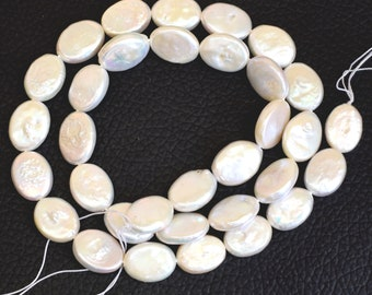 """White genuine loose pearl bead supply, 12x9x3 mm AAA Quality water pearl 1 strand wholesale, Oval freshwater pearl jewelry Length~16""""Inch"""