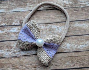 Small Burlap Lace Bow Headband