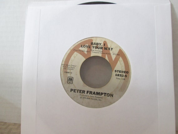 Peter Frampton 45 Vinyl Record, Baby I Love Your Way Everyday, It's A Plain  Shame, 1976, A & M Records, Classic Rock