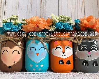 Woodland creature mason jar set of 4 pint jars, baby shower centerpiece, birthday centerpiece, nursery decor