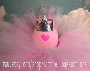 Pink princess tutu quart sized jar centerpiece, birthday party decorations, baby shower centerpiece, ballerina decorations