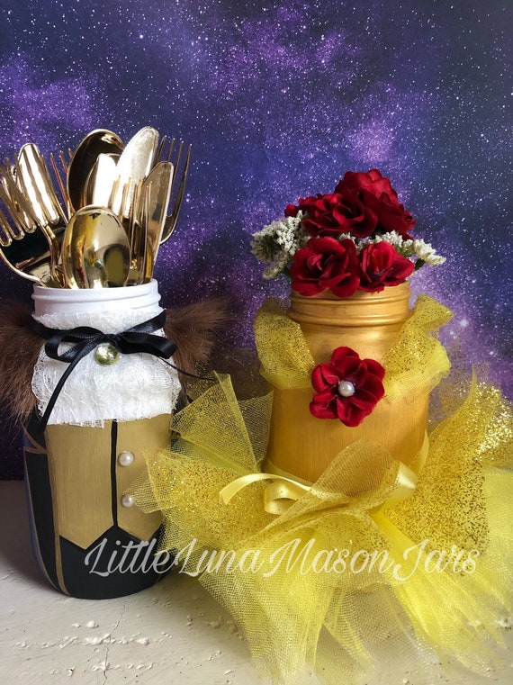 Beauty And The Beast Mason Jar Set La Belle Et La Bête Fairy Tale Inspired Birthday Party Centerpiece Room Decor