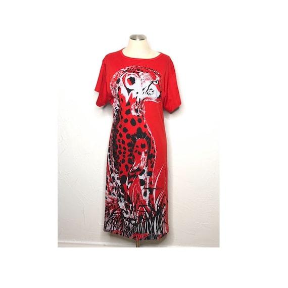 Vintage 70's Shaheen red cheetah print maxi t-shir