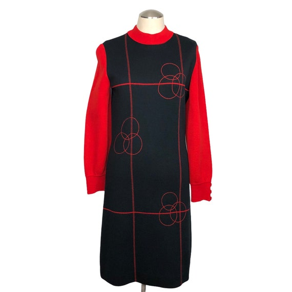 Vintage 60s mod black and red knit dress // bodyco