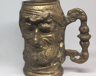 Brass fisherman tankard/mug