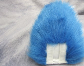 Cobalt over White Bunny/Deer Tail - READY TO SHIP
