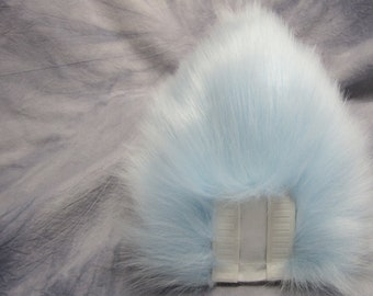 Light Blue over White Bunny/Deer Tail - READY TO SHIP