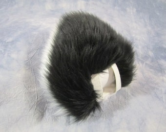 Faux Fur Costume Black over White Bunny Tail - READY TO SHIP