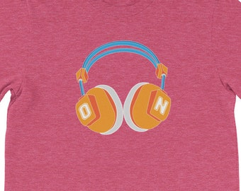Retro Headphones ON - Tshirt for Music Fans
