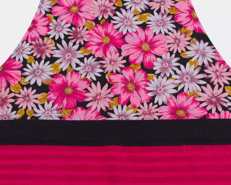 housewarming Pink Daisy Full Apron with Pink Hand Towel and Black Cross-Over Straps; gift for chef entertainer cook host hostess