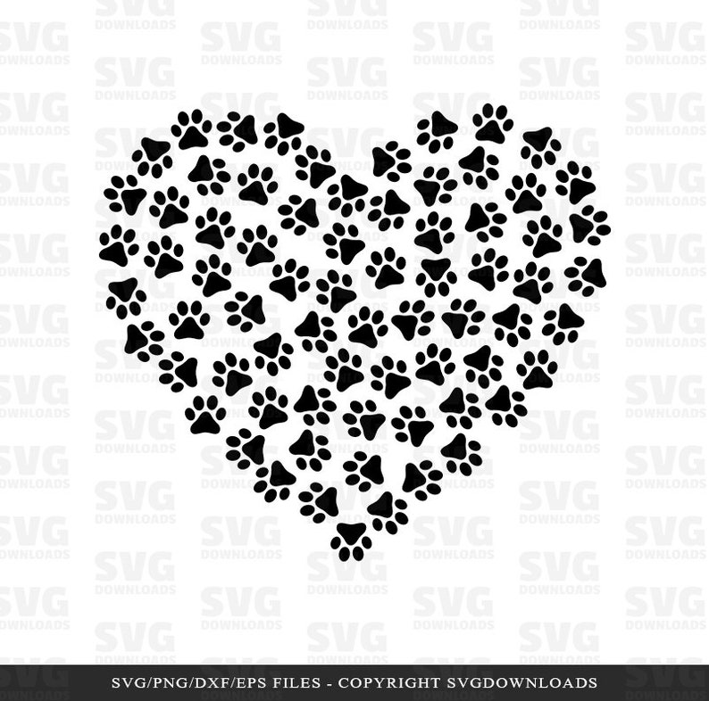 Download Dog Paw Heart SVG Paw Print SVG Cricut Files Silhouette | Etsy