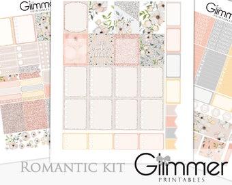 Romantic Kit (3 sheet Printable) for EC Vertical Planner