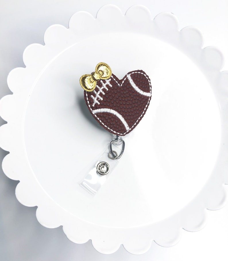 ID Badge Football Mom Medical Badge Football Badge Reel Sports Badge Reel Heart Badge Reel Badge Holder