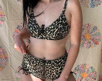 fea8f6c578df 1960s Cole of California Leopard Cheetah Two Piece Lace Up Bikini with  Rouched Bottoms