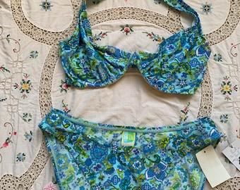 8b1317648053e 1990s DEADSTOCK Swim Systems Blue Paisley Underwire High Leg French Cut  Halter Bikini