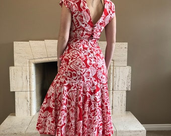 a69529b8f73 1970s Joni Blair of California Trumpet Mermaid Dress with Ruffles and Red  Roses Low Back