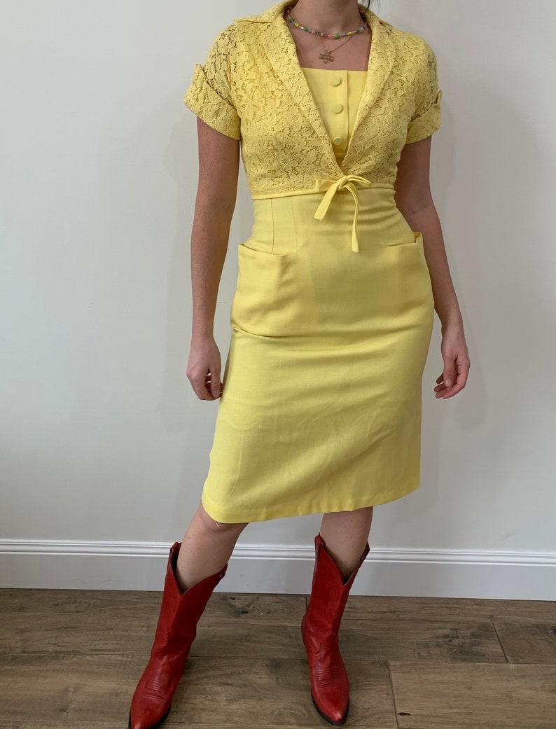 1960s Banana Yellow Linen Wiggle Dress with Matching Cropped Lace Bolero size Small Medium