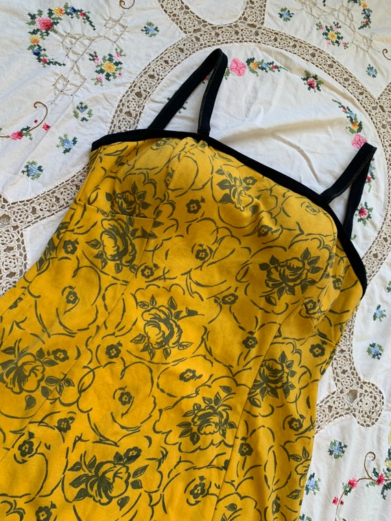 1960s Yellow Floral Onepice Swimsuit