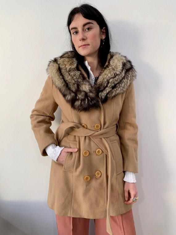 1970s Coyote Fur Collar Penny Lane Wool Jacket Coa