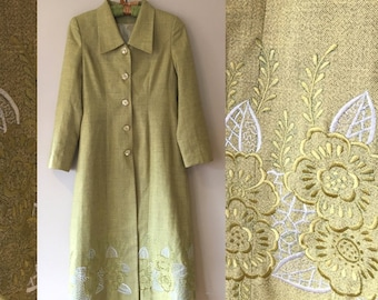 Vintage 60s Chartreuse Mod Long Parisan Coat Jacket with Embroidery size Small