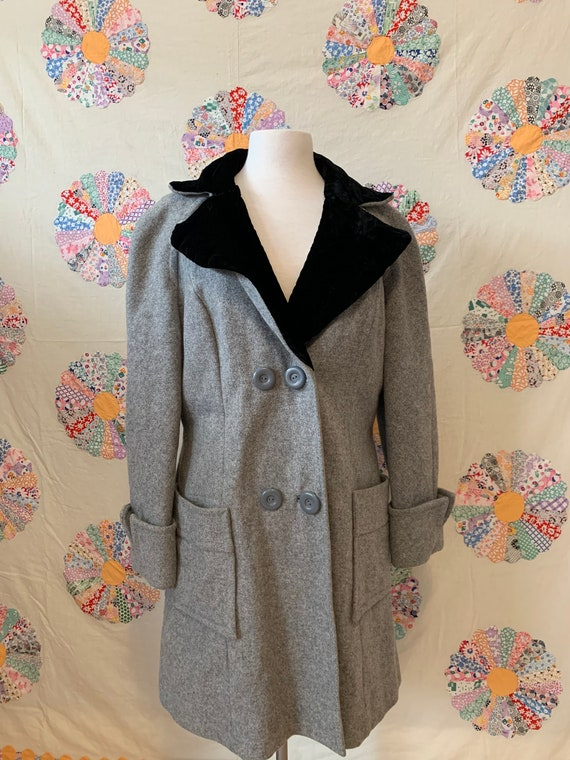 1970s does 1950s County Pacer Grey Wool Coat with