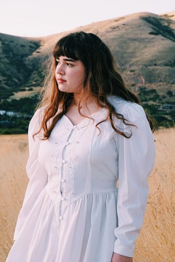 1980s 1970s Western Wear White Cotton Prairie Dres
