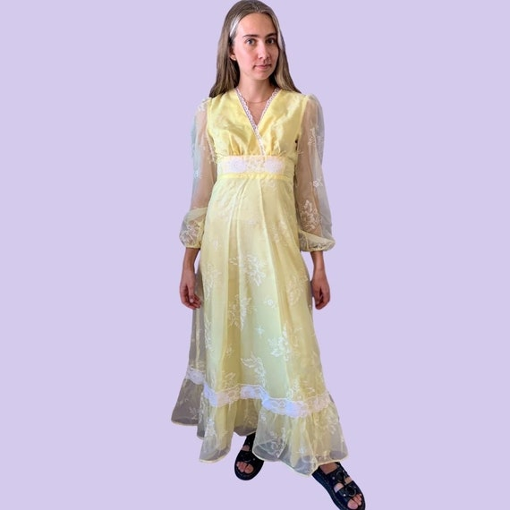 1970s Yellow Chiffon Flocked Floral Prairie Dress