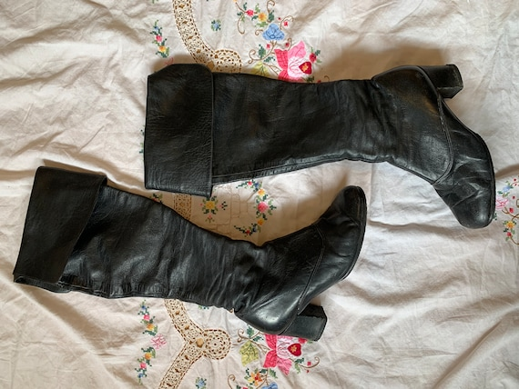 1960s Bootalinos by Corelli Black Leather Knee Hig