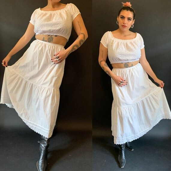 1910s White Antique Cotton Long Tiered Skirt size