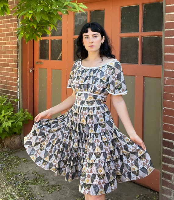 1960s Patchwork Cotton Voile Dress with Peasant T… - image 1