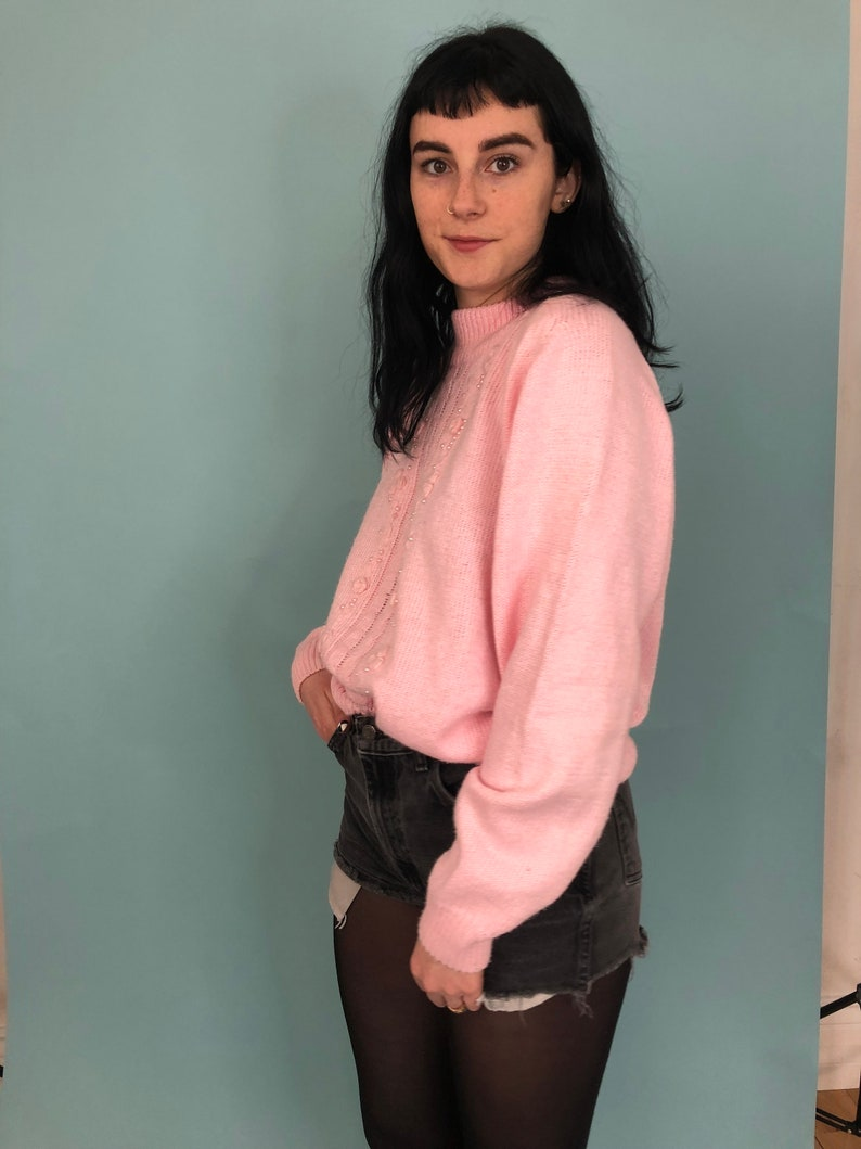 1980s Baby Pink and Rosette High Neck Sweater