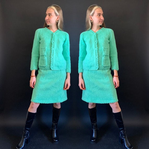 1940s Minty Green Knit Cardigan and Skirt Matching