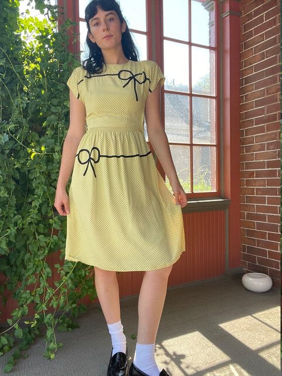1940s Butter Yellow Rayon Dress with Windowpane Pr