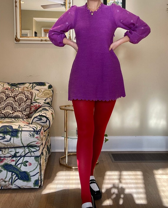 1960s Purple Knit Mini Dress with Balloon Sleeves