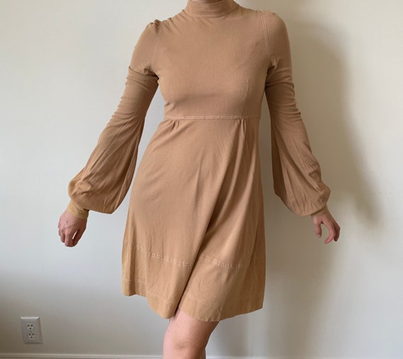 1970s Camel Turtleneck Dress with Bishop Sleeves s